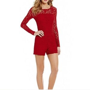 1. State Red Floral Lace Romper